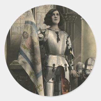 Adesivo Redondo Descrição do vintage de Joana do arco