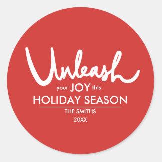 Adesivo Redondo Desencadeie seu feriado festivo da alegria  