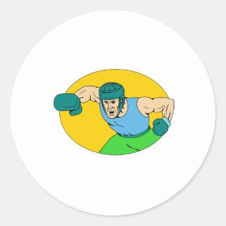 Adesivo Redondo Desenho amador do perfurador de KO do pugilista