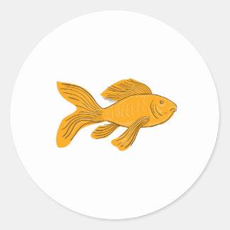 Adesivo Redondo Desenho da natação de Koi da borboleta do ouro