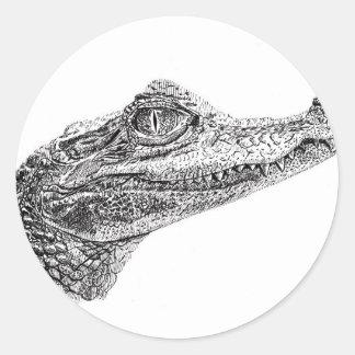 Adesivo Redondo Desenho da tinta do crocodilo do bebê