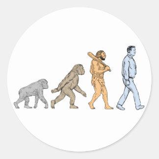 Adesivo Redondo Desenho de passeio da evolução humana