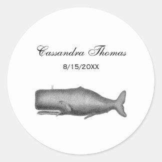 Adesivo Redondo Desenho do século XIX da baleia do vintage