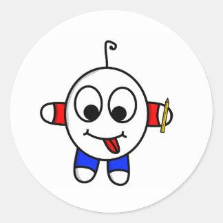 Adesivo Redondo desenho engraçado do gajo
