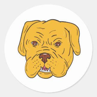 Adesivo Redondo Desenhos animados da cabeça de cão do Bordéus