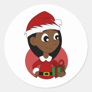 Adesivo Redondo Desenhos animados da menina do Natal