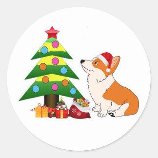 Adesivo Redondo Desenhos animados do Corgi do feriado com árvore
