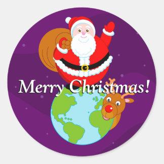 Adesivo Redondo Desenhos animados do divertimento de Papai Noel