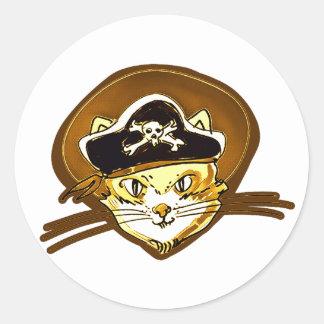 Adesivo Redondo desenhos animados doces do ouro do gato do pirata
