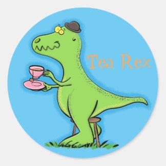 Adesivo Redondo Desenhos animados engraçados do dinossauro do rex
