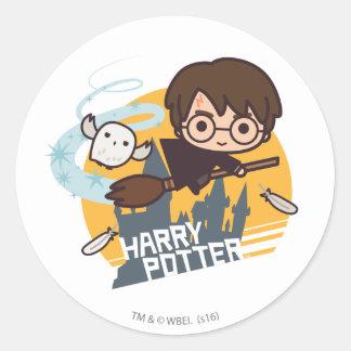 Adesivo Redondo Desenhos animados Harry e vôo de Hedwig após