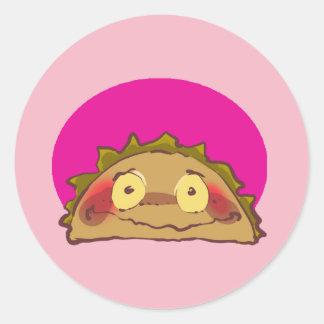 Adesivo Redondo desenhos animados tímidos doces do taco