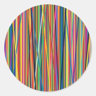 Adesivo Redondo Design abstrato colorido das listras