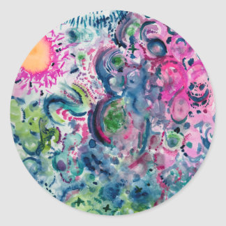 Adesivo Redondo design abstrato colorido do divertimento