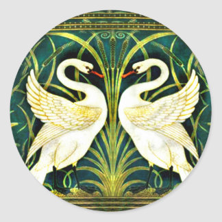 Adesivo Redondo Design branco da cisne do vintage