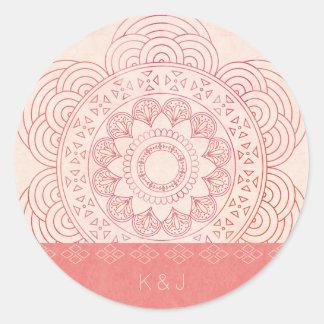 Adesivo Redondo Design chique da mandala de Boho dos monogramas do