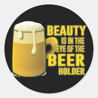 Adesivo Redondo Design da caneca do bebendo do amante da cerveja