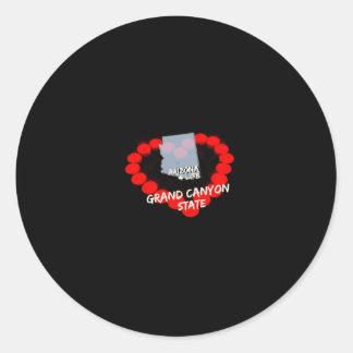 Adesivo Redondo Design do coração da vela para o estado de arizona