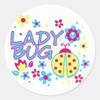 Adesivo Redondo Design do inseto da senhora