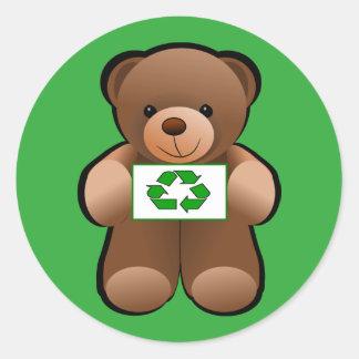 Adesivo Redondo Design do símbolo do reciclar do urso de ursinho