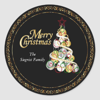 Adesivo Redondo Design elegante da árvore de Natal
