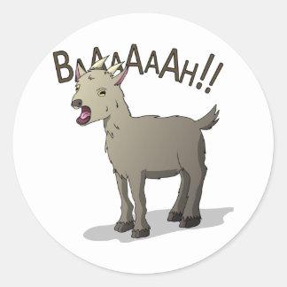 Adesivo Redondo Design gritando do macarronete do Doodle da cabra
