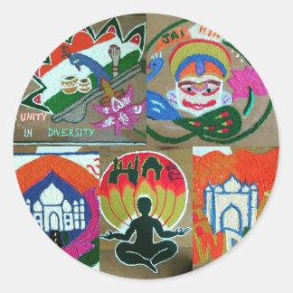 Adesivo Redondo Design indiano étnico