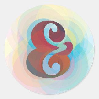 Adesivo Redondo Design original do arco-íris do Ampersand das