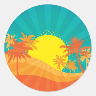 Adesivo Redondo Design retro tropical do surf da praia do por do