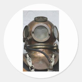 Adesivo Redondo Design subaquático do capacete do mergulho do