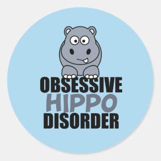 Adesivo Redondo Desordem obsessiva engraçada do hipopótamo