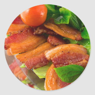 Adesivo Redondo Detalhe de uma placa do tomate fritado do bacon e