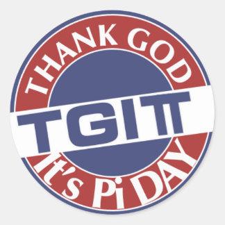 Adesivo Redondo Deus do obrigado de TGIPi seu dia logotipo