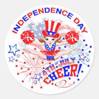 Adesivo Redondo Dia da Independência, o 4 de julho, elogio
