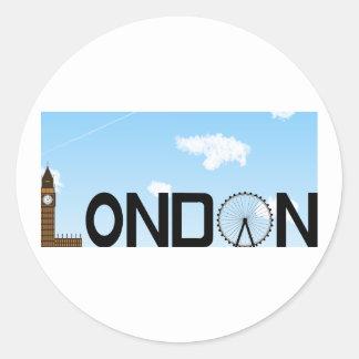 Adesivo Redondo Dia da skyline de Londres