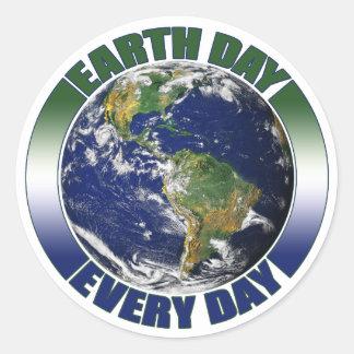 Adesivo Redondo Dia da Terra terra azul & verde de cada dia do