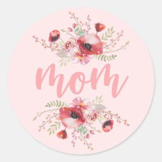 Adesivo Redondo Dia das mães do buquê floral |