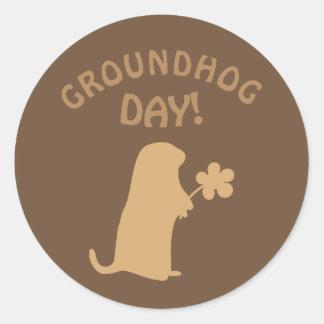 Adesivo Redondo Dia de Groundhog