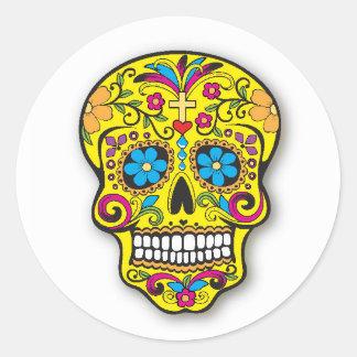 Adesivo Redondo Dia mexicano amarelo do crânio do açúcar do morto