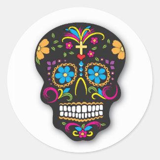 Adesivo Redondo Dia mexicano de néon preto do crânio do açúcar do