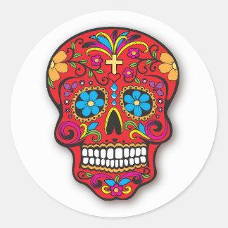 Adesivo Redondo Dia mexicano vermelho do crânio do açúcar do morto