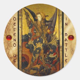 Adesivo Redondo Diabo vencendo de St Michael como o cavaleiro