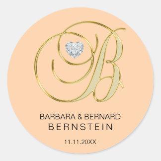 Adesivo Redondo Diamante Monogrammed do coração da letra B do