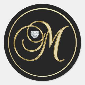 Adesivo Redondo Diamante preto elegante do coração da letra M do