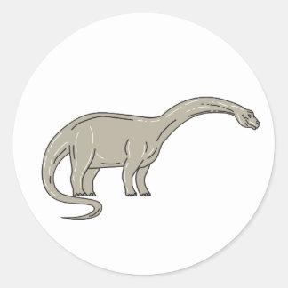 Adesivo Redondo Dinossauro do Brontosaurus que olha abaixo da mono