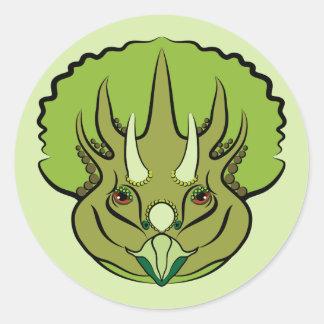 Adesivo Redondo Dinossauro verde bonito do Triceratops
