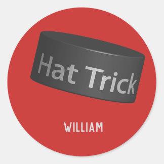 Adesivo Redondo Disco do hat-trick com nome