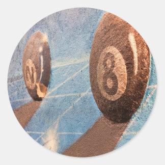 Adesivo Redondo Disparado da ilustração das bolas de bilhar na