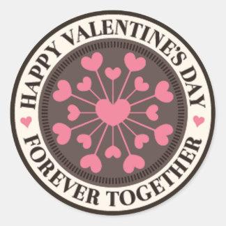 Adesivo Redondo Disposição dos corações de namorados para sempre