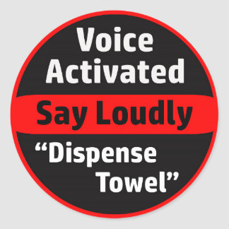 Adesivo Redondo Distribuidor ativado voz de toalha de papel